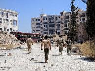 Сирийские военные в пригороде Алеппо. 28 июля 2016