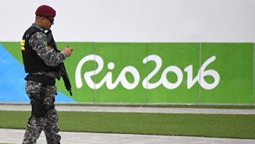 Военнослужащий в Олимпийском парке в Рио-де-Жанейро
