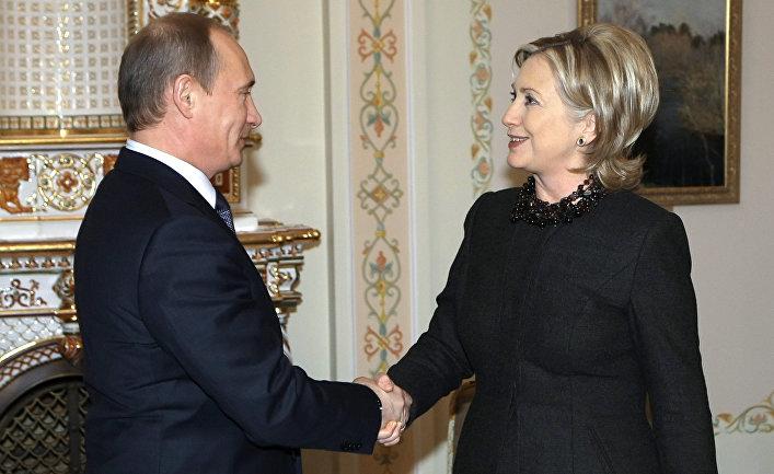 Премьер-министр РФ Владимир Путин встретился с госсекретарем США Хиллари Клинтон