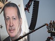 Портрет президента Турции Реджеп Тайип Эрдоган во время митинга «Демократия и мученики»