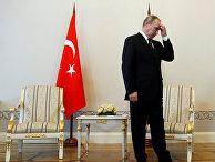 Президент России Владимир Путин перед началом встречи с президентом Турции Реджепом Тайипом Эрдоганом