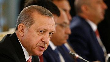 Президент Турции Реджеп Тайип Эрдоган во время встречи с деловыми кругами России и Турции