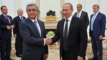 Президент РФ В. Путин встретился с президентом Армении С. Саргсяном. 10 августа 2016