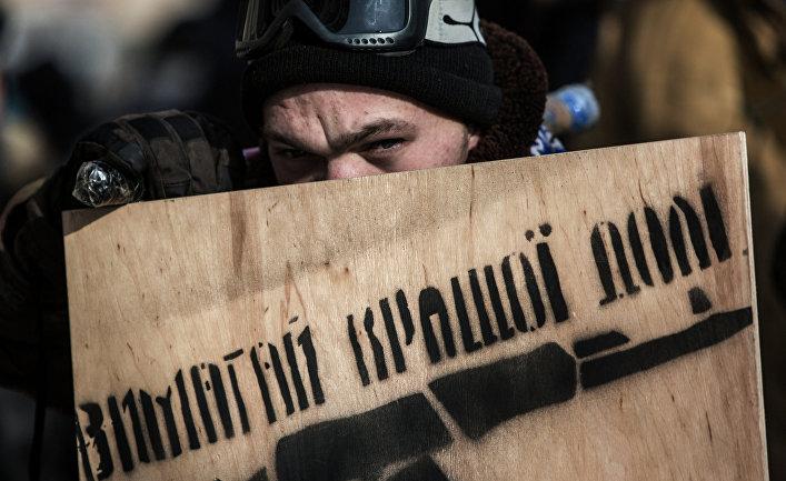 Участник протестов на площади Независимости в Киеве