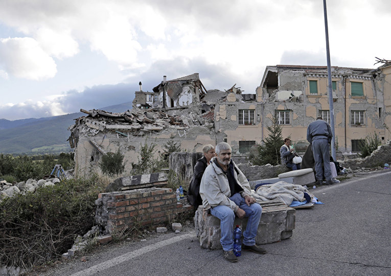 Пострадавший от землетрясения город Аматриче в Италии