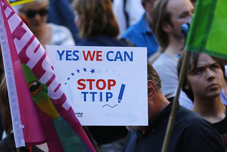 Акция протеста против Трансатлантического торгового и инвестиционного партнёрства