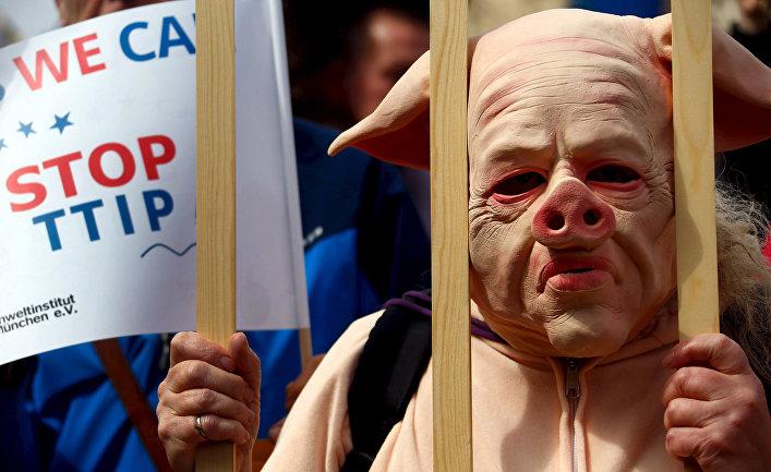 Демонстрация против Трансатлантического соглашения о партнерстве в области торговли и инвестиций в Мюнхене