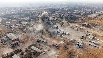 Нанесение авиаударов по террористам на юго-западе Алеппо