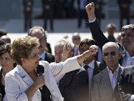 Президент Бразилии Дилма Роуссефф после голосования Федерального сената Бразилии о продолжении процедуры импичмента