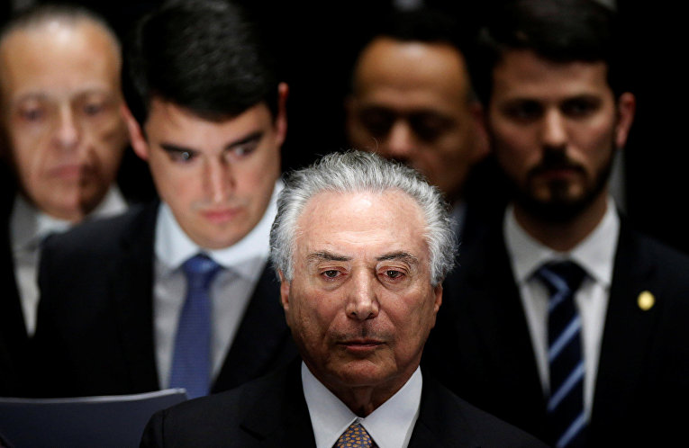 Новый президент Бразилии Мишель Темер принимает участие в церемонии инаугурации