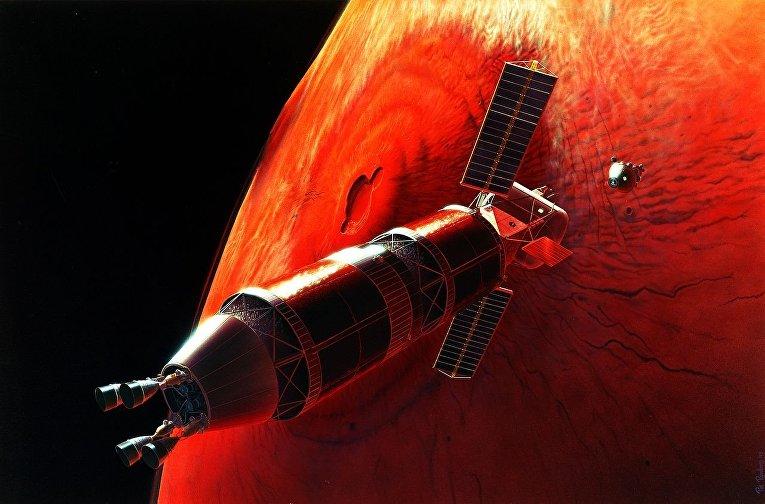 Стыковка на марсианской орбите в представлении художника.
