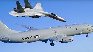 Су-27 перехватил американский самолет-разведчик