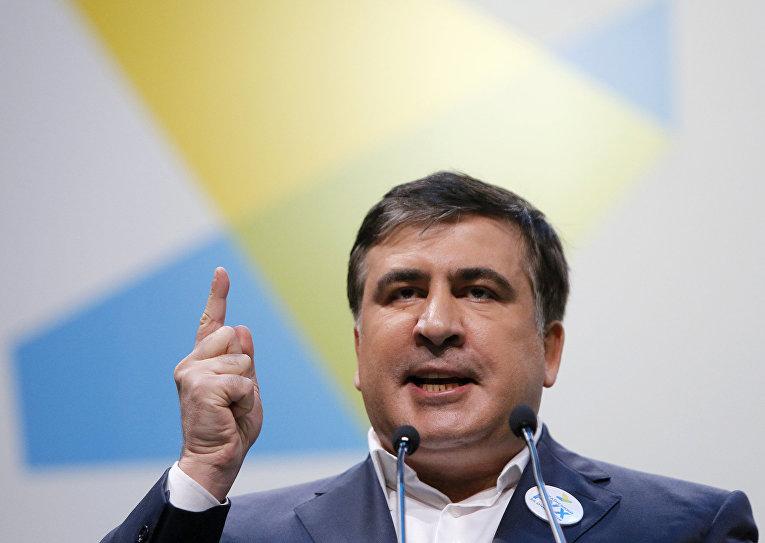 Губернатор Одесской области Михаил Саакашвили выступает на антикоррупционном форуме в Киеве