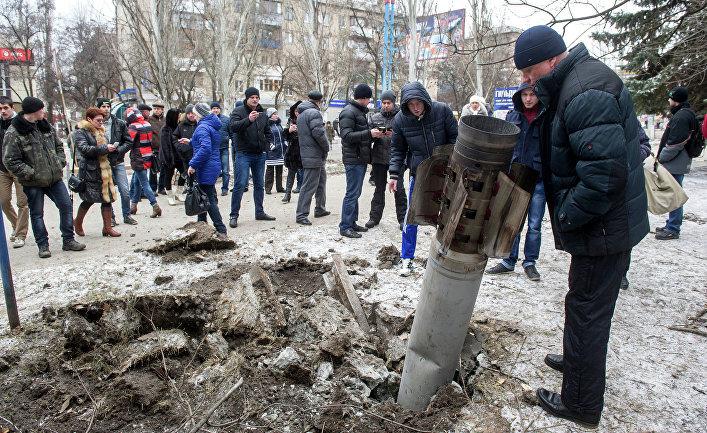 На одной из улиц Краматорска после артобстрела