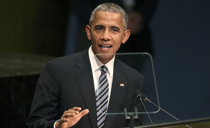 Президент США Барак Обама во время выступления на заседании Генеральной ассамблеи ООН в Нью-Йорке