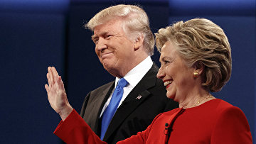 Кандидаты в президенты США Дональд Трамп и Хиллари Клинтон на дебатах
