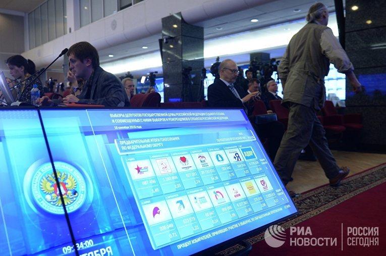 Предварительные результаты выборов в Государственную Думу РФ на инфоэкране в Центральной избирательной комиссии РФ