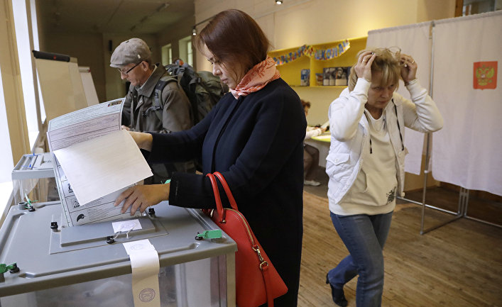 Жители Санкт-Петербурга на выборах в единый день голосования