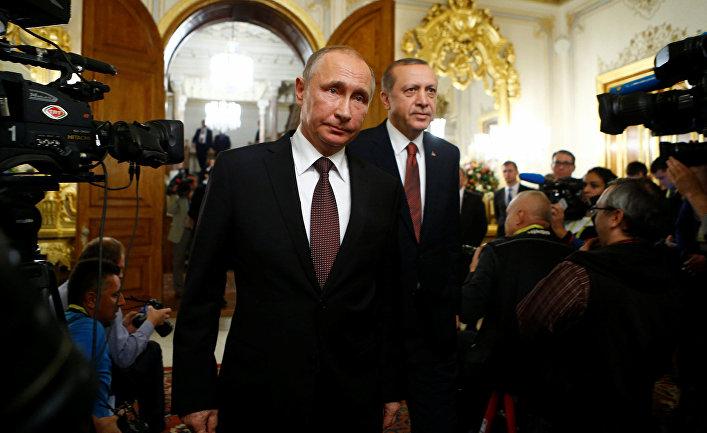 Президент России Владимир Путин и президент Турции Раджеп Тайип Эрдоган