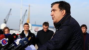 Губернатор Одесской области Украины Михаил Саакашвили выступает на пресс-брифинге в Одессе