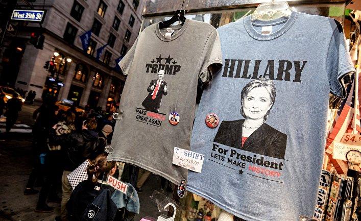 Продажа футболок с портретами кандидатов в президенты США в Нью-Йорке