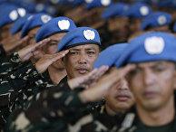 Филиппинские солдаты из миротворческого контингента ООН «Голубые береты»