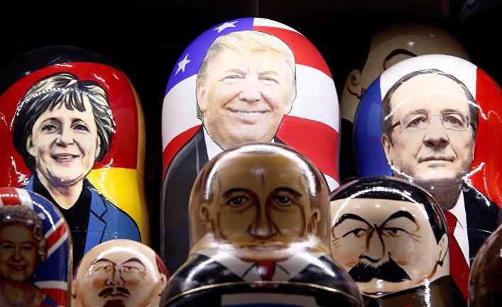 Матрешкии изображениями мировых лидеров