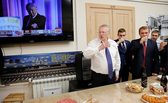 Владимир Жириновский отмечает победу Дональда Трампа на выборах президента США