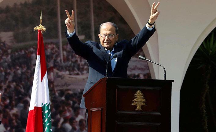 Президент Ливана Мишель Аун выступает перед своими строронниками