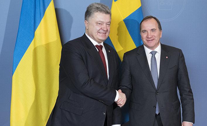 Премьер-министр Швеции Стефан Лёвен и президент Украины Петр Порошенко