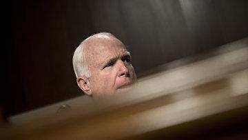 Сенатор Джон Маккейн во время слушаний в комитете Сената США по вооружённым силам