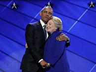 Президент США Барак Обама и кандидат в президенты США Хиллари Клинтон