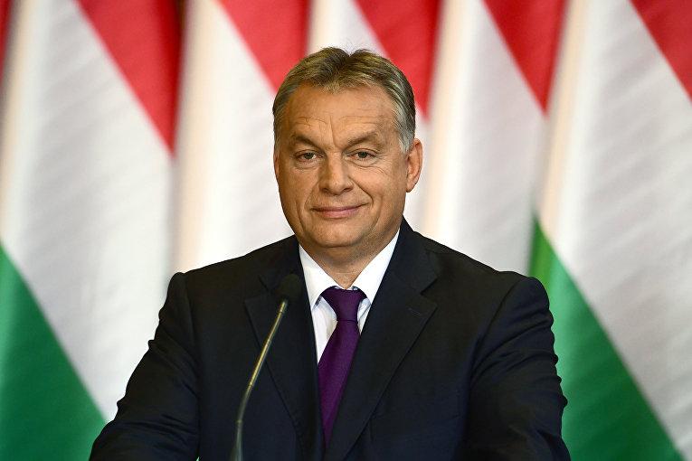 Премьер-министр Венгрии Виктор Орбан на пресс-конференции в Будапеште