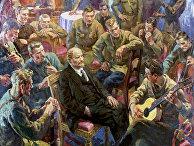 Репродукция картины «В.И. Ленин с латышскими стрелками в Кремле. 1 Мая 1918 года»