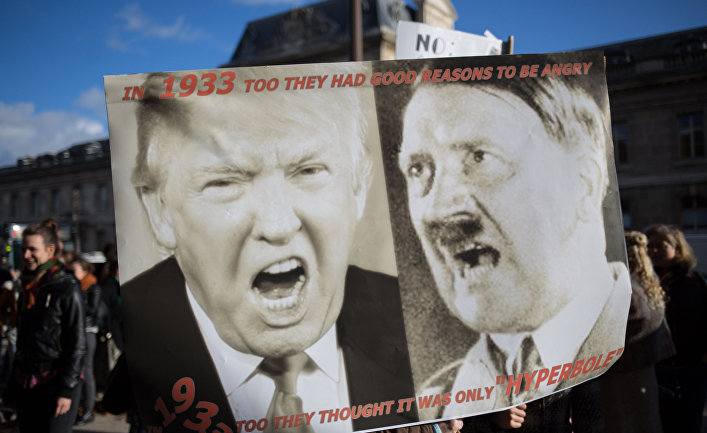 Демонстрация против Трампа в Париже
