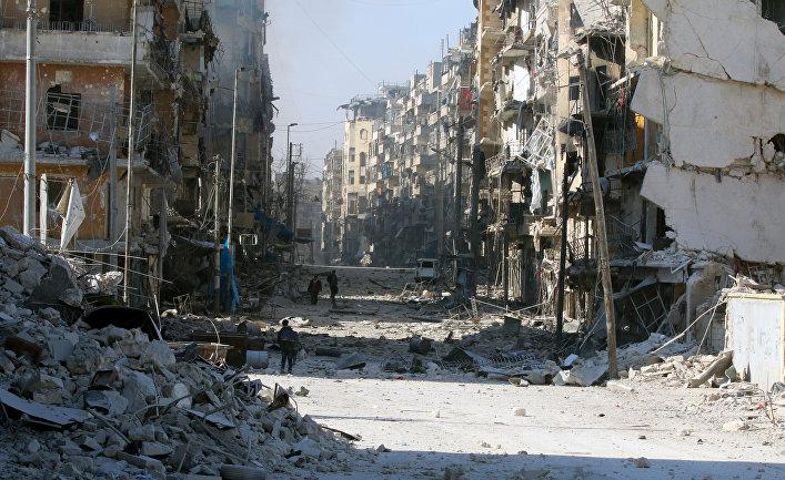 Руины домов в восточном Алеппо