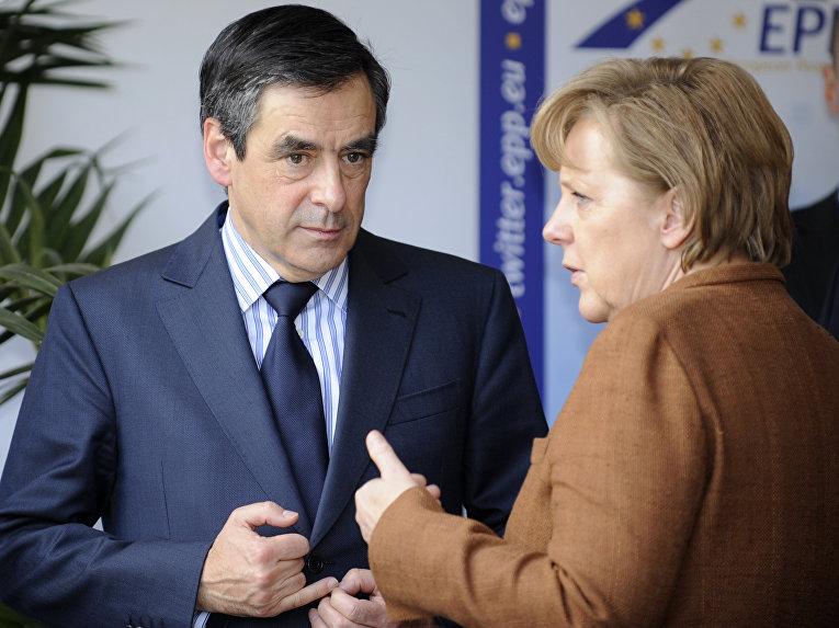 Премьер-министр Франции Франсуа Фийон и канцлер Германии Ангела Меркель