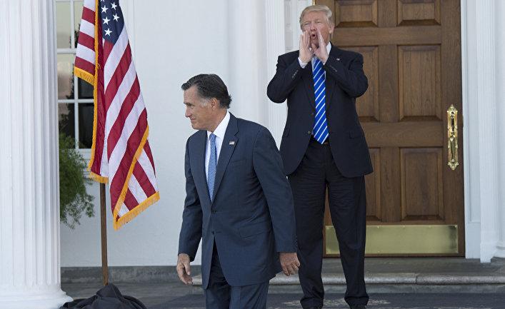 Избранный президент США Дональд Трамп и Митт Ромни