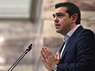 Премьер-министр Греции Алексис Ципрас выступает в парламенте