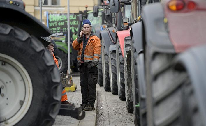 Акция протеста фермеров в Хельсинки