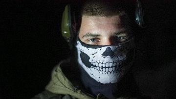 Украинский солдат в поселке Марьинка