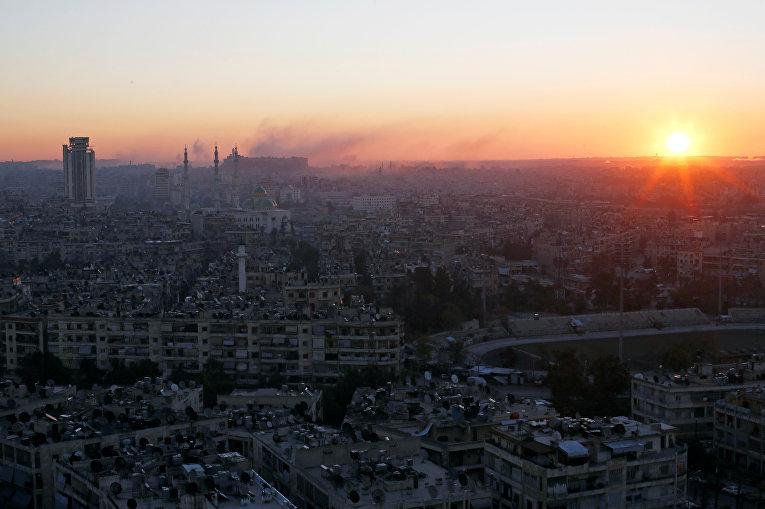 Сирийский город Алеппо на рассвете
