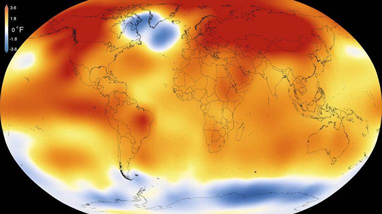 Карта мира с диапазоном температур