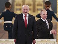 Александр Лукашенко и Владимир Путин во время встречи в Кремле
