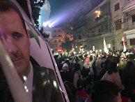 Празднование Победы в христианском квартале Алеппо