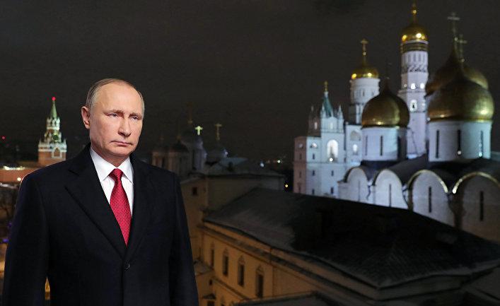 Президент Российской Федерации Владимир Путин во время новогоднего обращения к россиянам в канун 2017 года