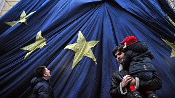 Флаг Евросоюза в центре Львова