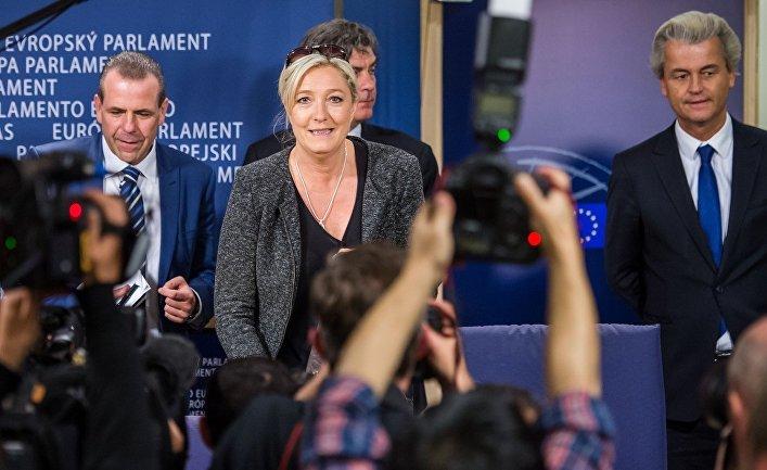 Пресс-конференция лидеров ультраправых партий в Брюсселе