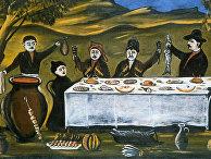 Картина Нико Пиросманашвили (Пиросмани) «Компания Бего»