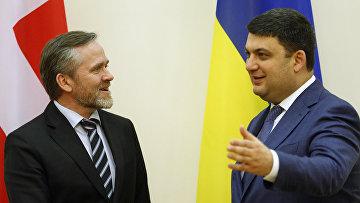 Премьер-министр Украины Владимир Гройсман и министр иностранных дел Дании Андерс Самуэльсона
